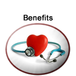 Department of Benefits logo with a stethoscope checking the heart symbol