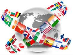 Click here to open Employee survey and logo is represented with flags of different country routing in X shape around the globe